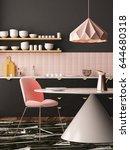 mockup interior kitchen in... | Shutterstock . vector #644680318