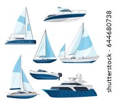 set of boats with sails  one... | Shutterstock .eps vector #644680738