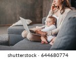 young mother working from home  ... | Shutterstock . vector #644680774