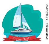 racing yacht with sails... | Shutterstock .eps vector #644680840