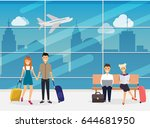 people sitting and walking in... | Shutterstock .eps vector #644681950