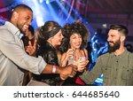 multiracial young friends... | Shutterstock . vector #644685640