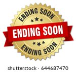 ending soon round isolated gold ... | Shutterstock .eps vector #644687470
