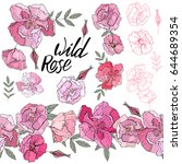 wild rose elements. isolated... | Shutterstock .eps vector #644689354