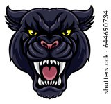 an angry looking black panther... | Shutterstock .eps vector #644690734