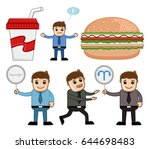 food and direction cartoon... | Shutterstock .eps vector #644698483