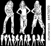 a lot of vector silhouettes of... | Shutterstock .eps vector #64470070
