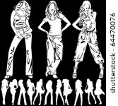 a lot of vector silhouettes of... | Shutterstock .eps vector #64470076