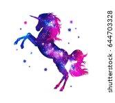 cosmic unicorn  fantasy  stars | Shutterstock . vector #644703328