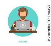 bearded man freelancer designer ... | Shutterstock .eps vector #644706529