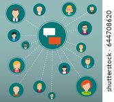 speech bubbles with connected... | Shutterstock .eps vector #644708620