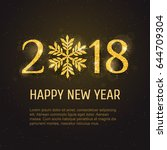 vector 2018 happy new year and... | Shutterstock .eps vector #644709304