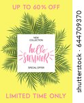summer greeting card and poster ... | Shutterstock .eps vector #644709370