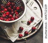 Sweet Cherries In A Colander