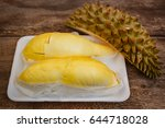 durian on a wooden background ...   Shutterstock . vector #644718028