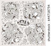 vector hand drawn doodle... | Shutterstock .eps vector #644718754