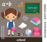 cute vector schoolgirl and set... | Shutterstock .eps vector #644719000