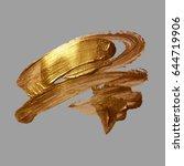 hand drawing gold brush stroke... | Shutterstock . vector #644719906