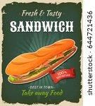 retro fast food sandwich poster ... | Shutterstock .eps vector #644721436