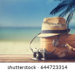 vintage suitcase  hipster hat ... | Shutterstock . vector #644723314