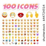 set of 100 cute icons on white... | Shutterstock .eps vector #644724514