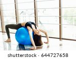 girl do exersice with ball on...   Shutterstock . vector #644727658