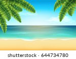 tropical landscape with palm... | Shutterstock .eps vector #644734780