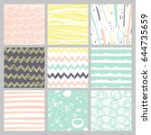 hand drawn pattern collection.... | Shutterstock .eps vector #644735659