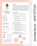 feminine resume with... | Shutterstock .eps vector #644737510