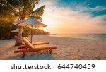 perfect beach scene. idyllic...   Shutterstock . vector #644740459