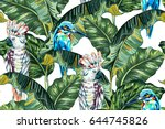 tropical summer vector seamless ... | Shutterstock .eps vector #644745826