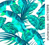 tropical palm leaves  jungle... | Shutterstock .eps vector #644745898
