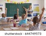 many hands of volunteers during ... | Shutterstock . vector #644749573