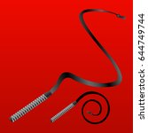 leather whip isolated on red... | Shutterstock .eps vector #644749744