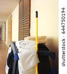 cleaning trolley in hotel | Shutterstock . vector #644750194