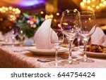 sparkling glassware stands on... | Shutterstock . vector #644754424