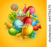 birthday background. vector... | Shutterstock .eps vector #644756170
