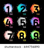 numbers in a geometric abstract ... | Shutterstock .eps vector #644756890