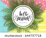 summer greeting card and poster ... | Shutterstock .eps vector #644757718