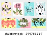 summer june greeting cards and... | Shutterstock .eps vector #644758114