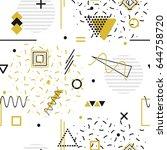 memphis seamless pattern  ... | Shutterstock .eps vector #644758720
