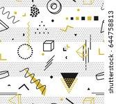 memphis seamless pattern  ... | Shutterstock .eps vector #644758813