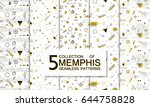 collection of seamless memphis... | Shutterstock .eps vector #644758828