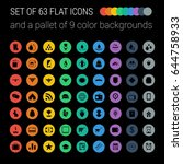 set of 63 flat icons and a... | Shutterstock .eps vector #644758933