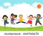 happy kids jumping together... | Shutterstock .eps vector #644760670