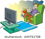 man watching horror movie   Shutterstock .eps vector #644761708