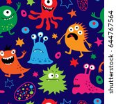 seamless pattern with a cute... | Shutterstock .eps vector #644767564