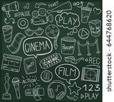 cinema doodle icon chalkboard... | Shutterstock .eps vector #644768620