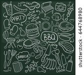 bbq food doodle icon chalkboard ... | Shutterstock .eps vector #644768980