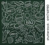 bbq food doodle icon chalkboard ... | Shutterstock .eps vector #644768980
